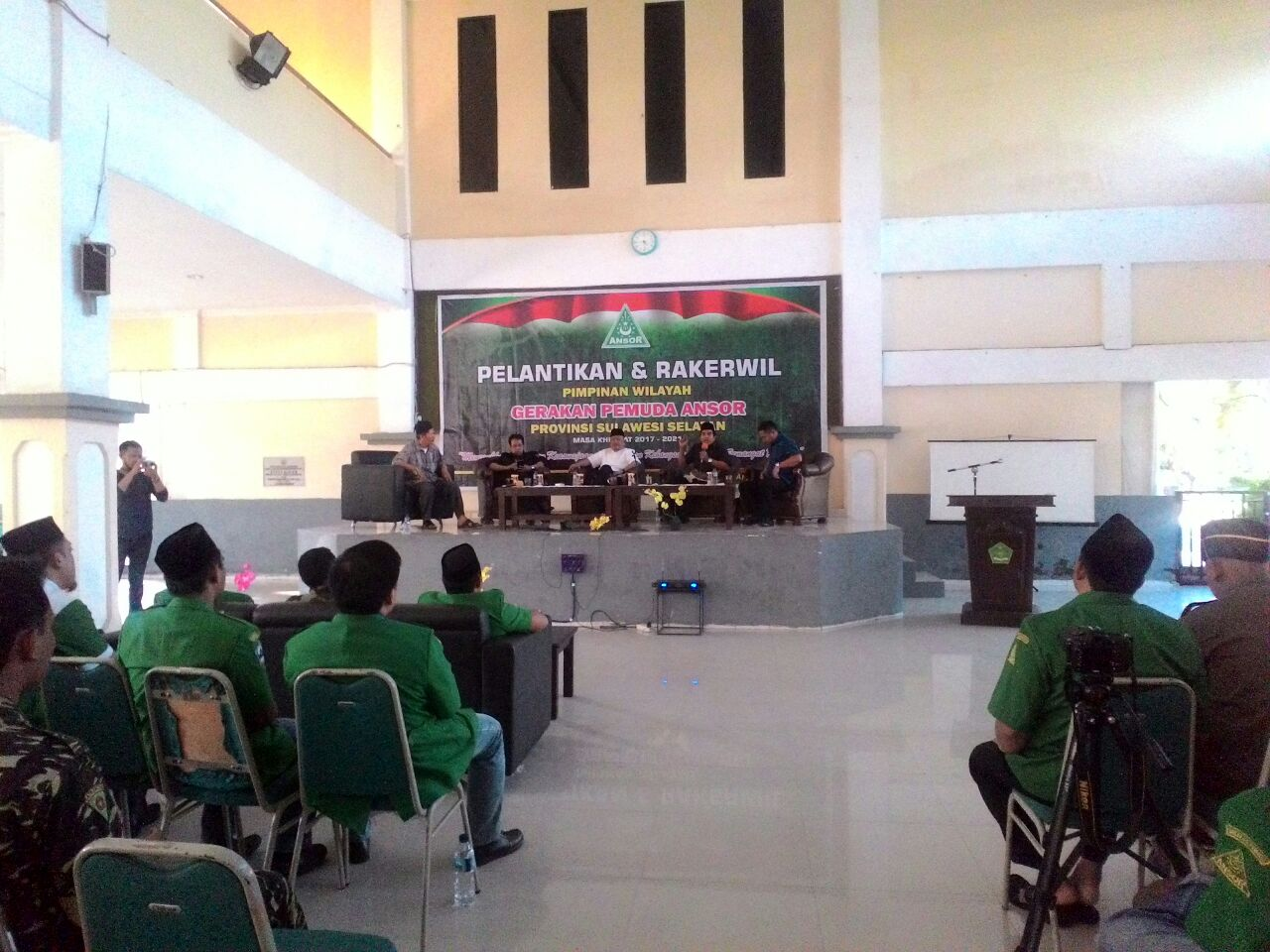 Pimpinan Wilayah Gerakan Pemuda Ansor Sulawesi Selatan Mengelar kegiatan Pelantikan dan Rapat Kerja Wilayah(rekerwil) masa khidmat priode 2017-2021, di Asrama Haji Sudiang,Sabtu(05/05/18).